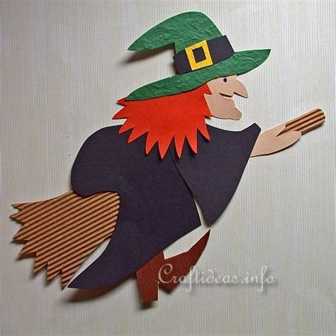 Free Halloween Paper Crafts  Paper Piecing Witch Decoration