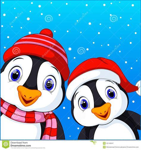 cute penguins cartoon stock illustration illustration