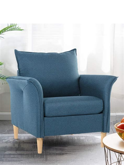 Accent sofa chair velvet fabric sofa, modern comfy single sofa chair upholstered arm chairs, vanity chairs with gold legs, leisure chairs for living room, bedroom, small spaces, makeup room. Smudesk Modern Fabric, Single Sofa Comfy Upholstered Arm Chair Living - SmugDesk