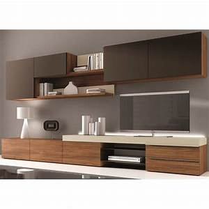 Meuble Design Tv Mural : meuble mural tv design osane couleur noyer mati achat vente meuble tv meuble mural tv ~ Teatrodelosmanantiales.com Idées de Décoration