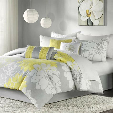 beautiful chic grey gray yellow floral modern  pc