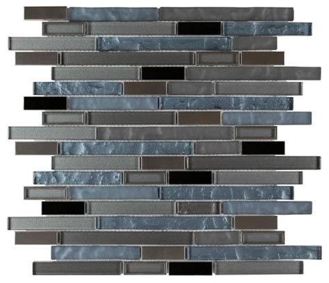 modern stainless glass mosaic tile linear blue mineral tiles