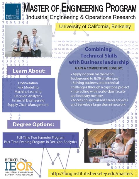 contact us department of industrial engineering operations research uc berkeley s 1 year m eng in industrial engineering operations research ucla department of