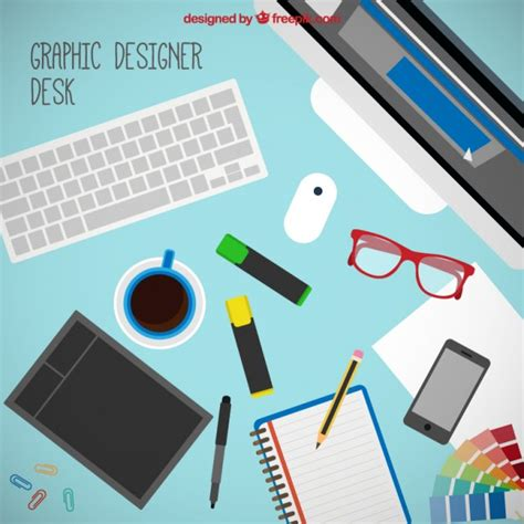 graphic design tools graphic designer tools on the desk vector free