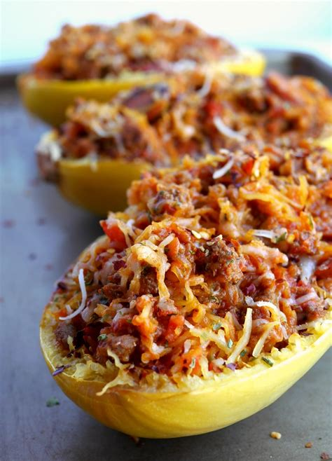 Stuffed Spicy Italian Spaghetti Squash Boats