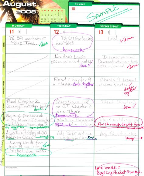 Class Student Planner Hilder Pearson Elementary