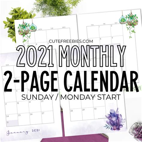 Only print the required months; 2021 Monthly Calendar Two Page Spread - Free Printable ...
