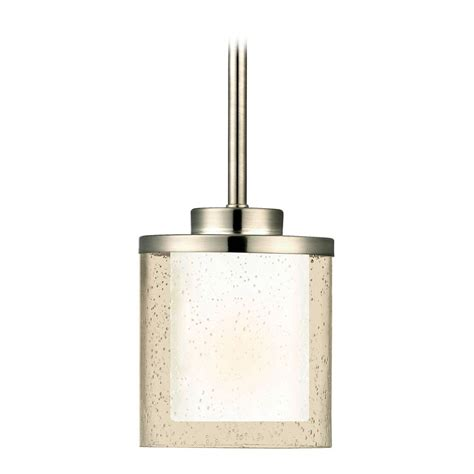 modern mini pendant light with clear seedy and white glass