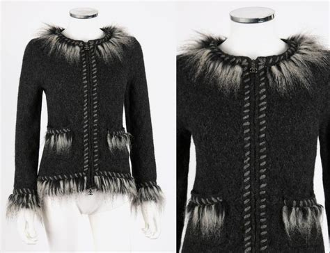 Chanel Gray Alpaca Cashmere Knit Fringe Fur Zip Front Cardigan Sweater Jacket For Sale At 1stdibs
