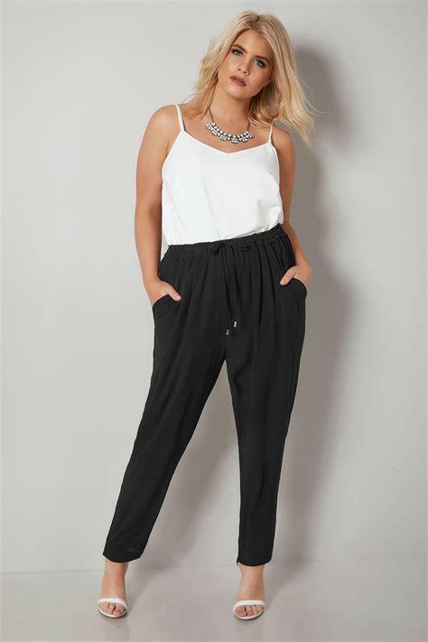 Pantalon Noir Crêpe Avec Cordon Coulissant, Taille 44 à 64