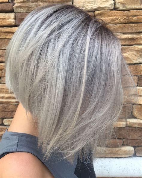Silver Grey Hair In A Concave Bob Vlasyhair Pinterest