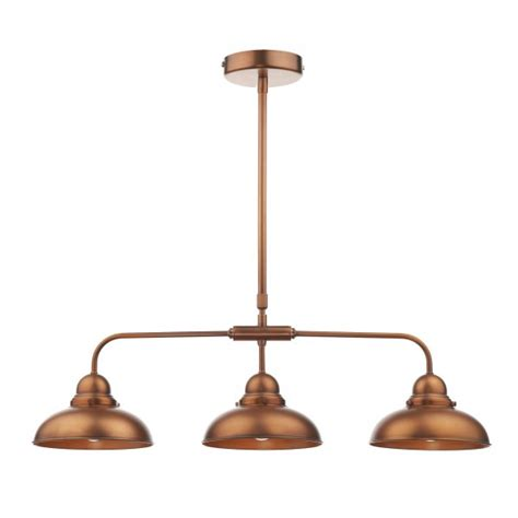 retro style antique copper kitchen island pendant with 3