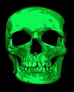 Human Skull In Green Color Isolated On The Black
