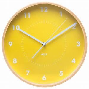 Wall Clock, Yellow - Modern - Wall Clocks - by WOLF