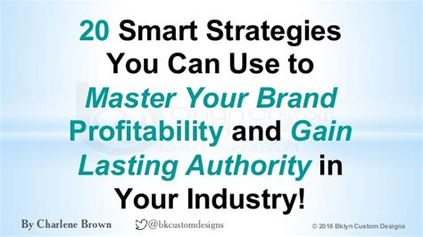 20 Smart Tacticts To Mastering Your Brand Profitability