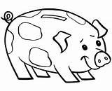 Piggy Bank Coloring Smiling Clipartpanda Clipart Template Credit Larger sketch template