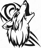 Wolf Howling Moon Native Coloring American Pages Drawing Tribal Head Clipart Vector Tattoo Illustration Tattoos Wolves Lobo Tatuajes Vinyl Tribales sketch template