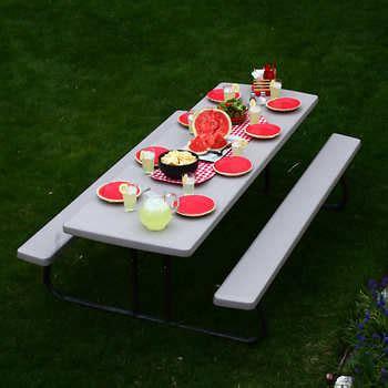folding picnic table costco lifetime 8 ft folding picnic table
