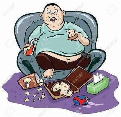 Couch Lazy Potato Fat Clipart Cartoon Sedentary