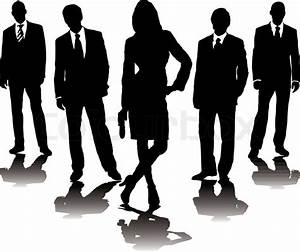 A collection of business people in mono silhouette with a ...