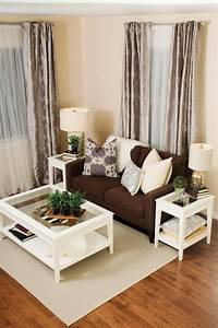 Simple, Way, To, Decorate, Small, Living, Room, With, Brown, Color, Theme