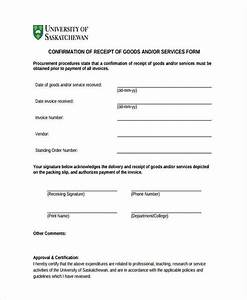 Form Of Receipt Delivery Confirmation Form 8 Free Documents In Word Pdf