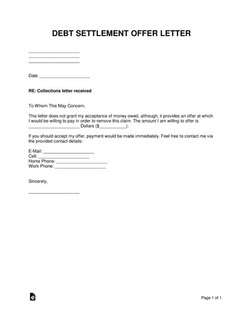debt settlement offer letter sample template