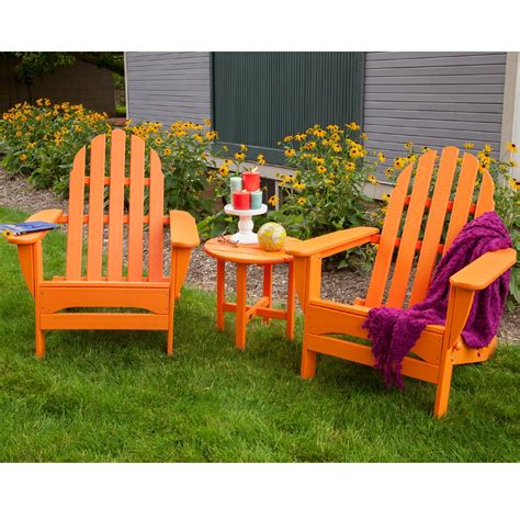 adirondack table and chairs polywood classic adirondack 3 piece folding chair set