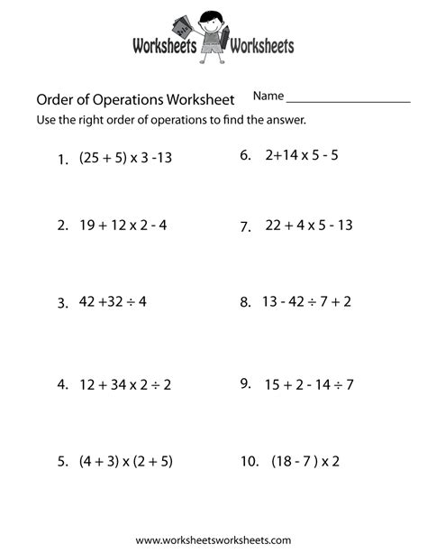 order of operations practice worksheet free printable