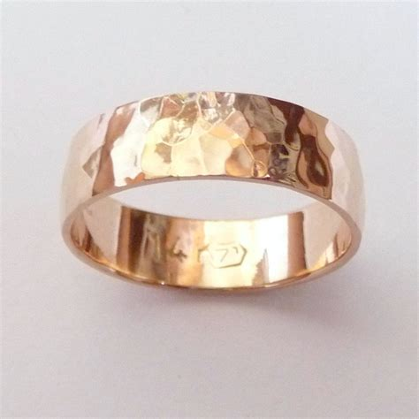 gold wedding band hammered wedding ring 6mm wide