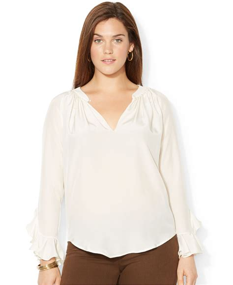 plus size silk blouses by ralph plus size ruffled silk blouse in
