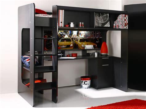 lit superposé avec bureau intégré lit mezzanine quot york quot avec bureau intégré noir