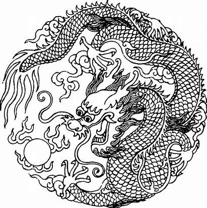 Dragon Chinese Coloring Outline Drawings Clipart Yang