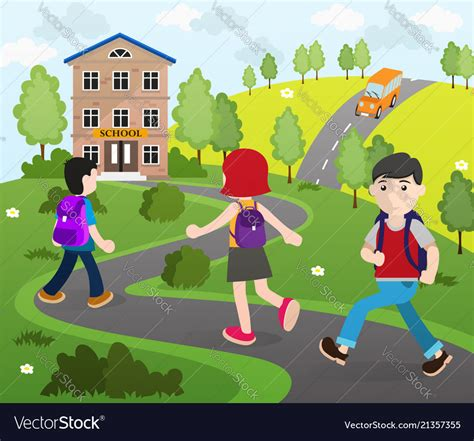 students going to school royalty free vector
