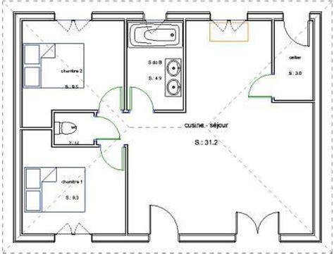 plan de maison 2 chambres pavillon de plain pied en bois avec 2 chambres