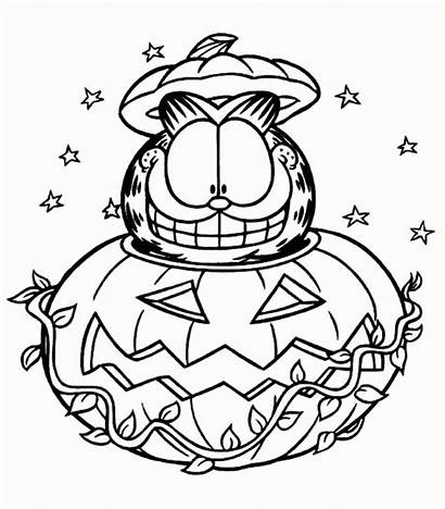 Coloring Halloween Pages Garfield Printable