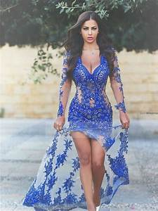 Royal Blue Lace Applique Sheer Long Sleeves Backless Split ...