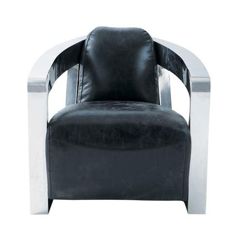 fauteuil cuir vintage noir darwin maisons du monde