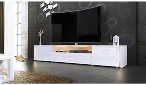 Meuble Tele Long Meuble Tv Blanc Bois Maisonjoffrois