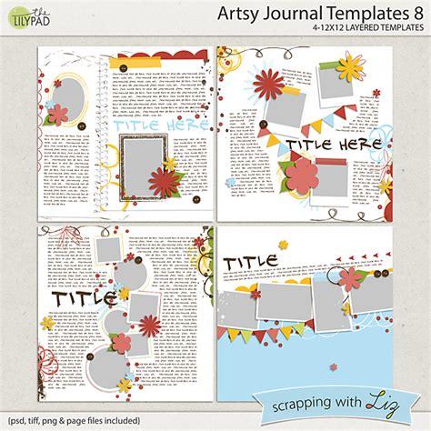 digital scrapbook template artsy journal  scrapping