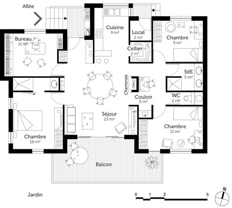 plan de maison plain pied 5 chambres plan chalet plain pied ooreka