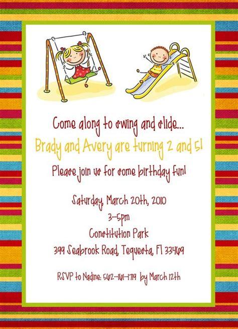 Playground/Park Party Invitation Printable Invitation