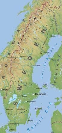 carta fisica svezia europa settentrionale europa