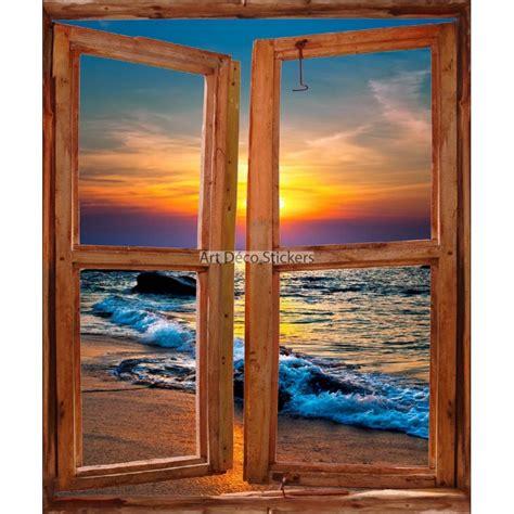 sticker mural fen 234 tre trompe l oeil d 233 co coucher de soleil sur mer stickers muraux deco