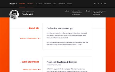 Modern Resume Components by Pessoal Modern Resume Theme Bootstrap Portfolio And