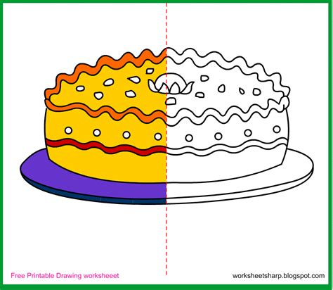 free drawing worksheets printable cake drawing worksheets