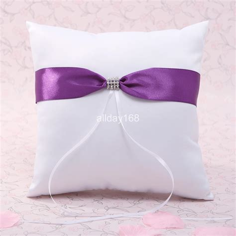 2019 top quality wedding ring pillow unique wedding supplies purple satin design ribbon ring