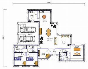 maison de plain pied en quotvquot 3 chambres crea05 With plan maison plain pied 3 chambres 1 bureau