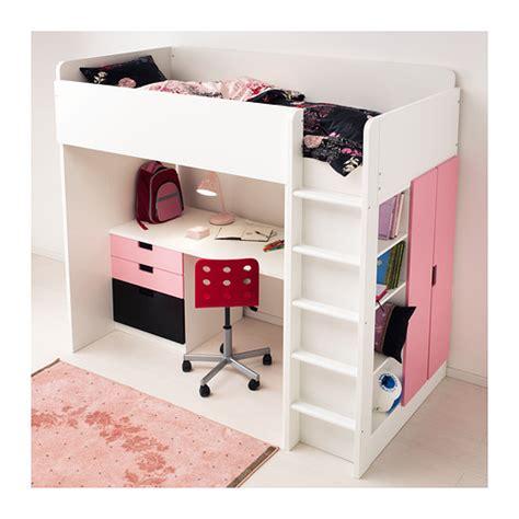 desk bed combo ikea stuva loft bed combo w 1 drawer 2 doors white pink