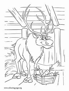 Frozen Sven Loves Carrots Coloring Page